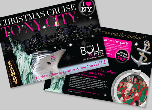 Old Bull Christmas Parties Brochure design